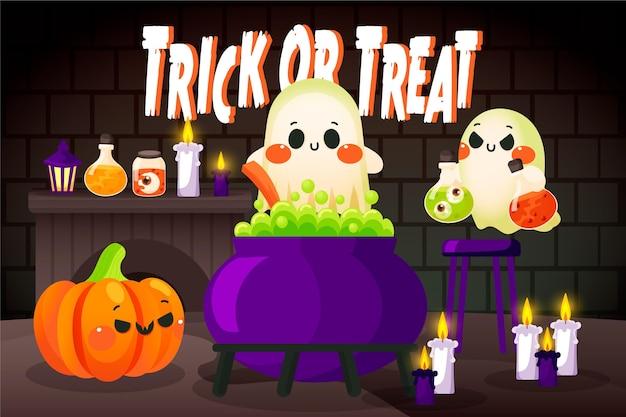 Disegnata a mano sfondo di halloween con personaggi spettrali