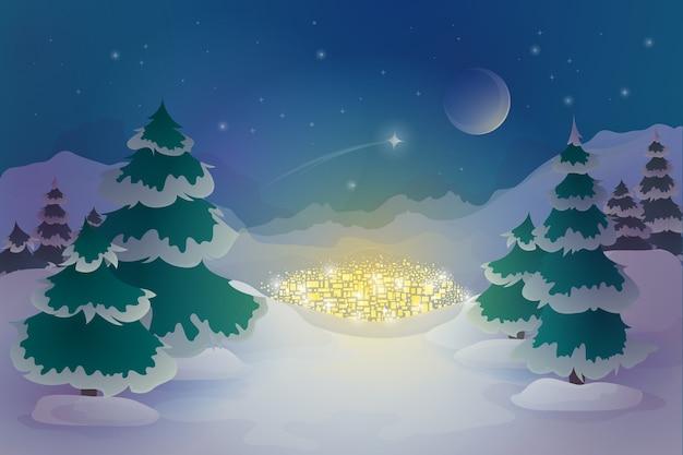 Disegnata a mano sfondo invernale