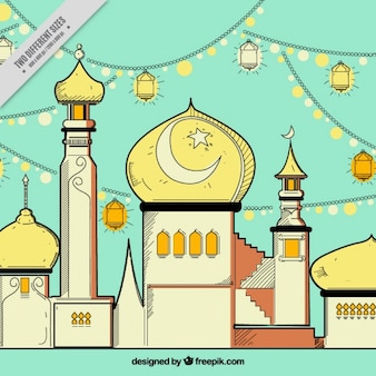 Disegnata a mano sfondo moschea