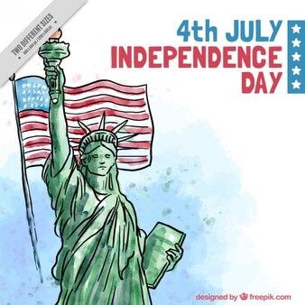 Disegnata a mano statua della libertà con la bandiera sfondo