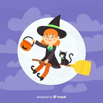 Disegnata a mano strega di halloween sullo sfondo
