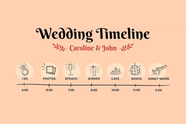 Disegnata a mano timeline di nozze funky
