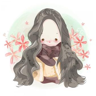 Disegnata a mano una ragazza adorabile.