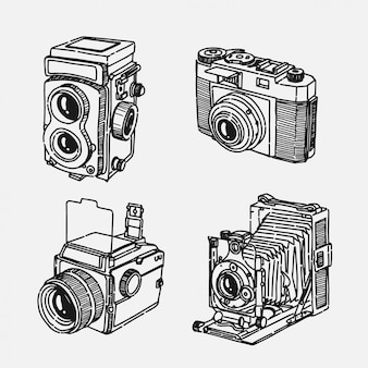 Disegnata a mano vecchia collezione di fotocamere