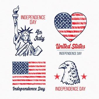 Disegnate a mano 4 luglio etichette giorno dell'indipendenza