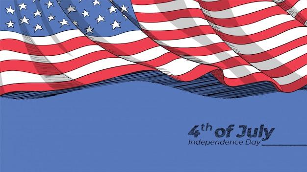Disegnati a mano bandiera americana sullo sfondo