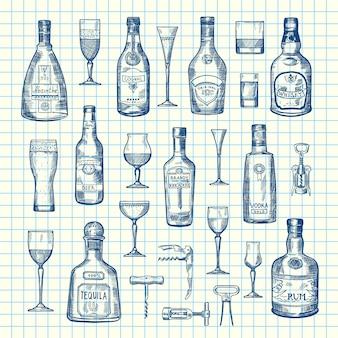 Disegnati a mano bevande alcoliche bottiglie e bicchieri set di sul foglio di cellule