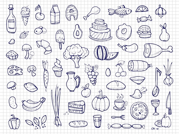 Disegnati a mano cibo, verdure, bevande, snack, fast food doodle