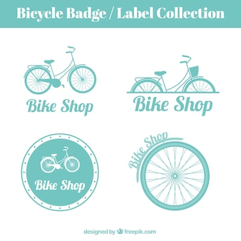 Disegnati a mano d'epoca biciclette distintivi ed etichette