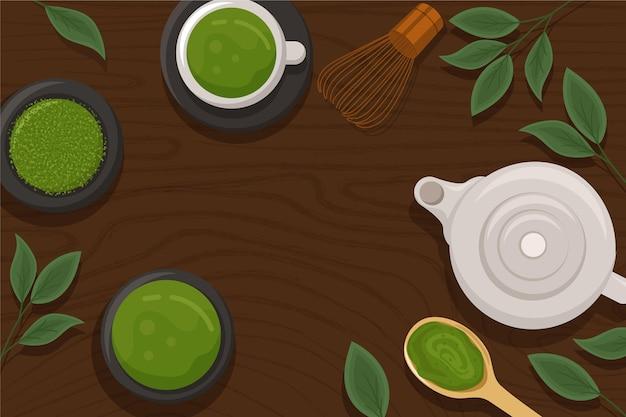 Disegnati a mano design matcha tè sullo sfondo