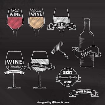 Disegnati a mano distintivi del vino