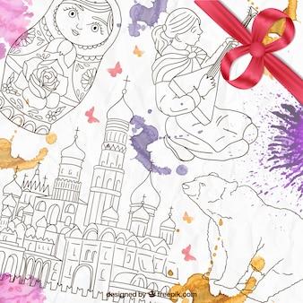 Disegnati a mano elementi russo