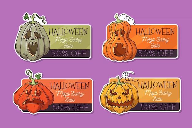 Disegnati a mano etichette di halloween con zucche.
