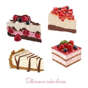 Disegnati a mano fette deliziosa torta