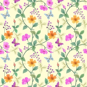 Disegnati a mano fiori colorati e motivo a farfalla.