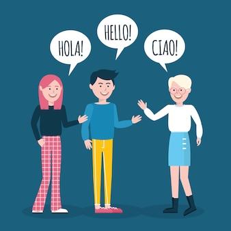 Disegnati a mano giovani che parlano in diverse lingue impostate
