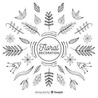 Disegnati a mano incolore elementi di decorazione floreale