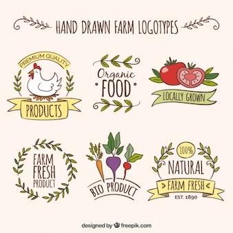 Disegnati a mano logotipi fattoria con prodotti biologici