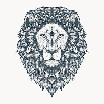 Disegnati a mano peloso testa di leone opere d'arte