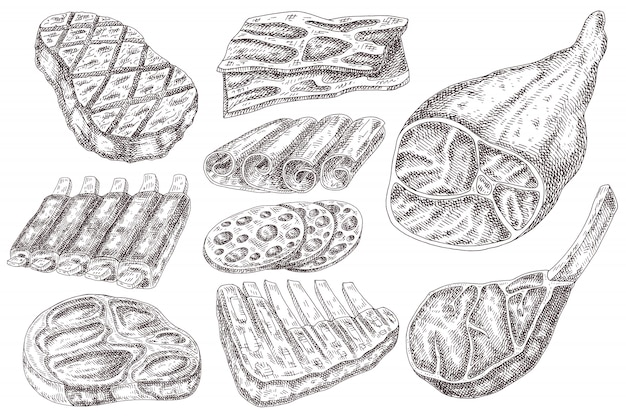 Disegnati a mano prodotti a base di carne.