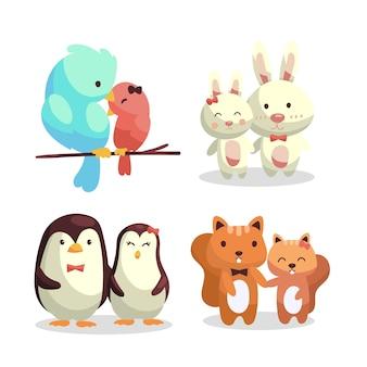 Disegnati a mano san valentino coppia di animali