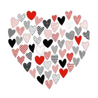 Disegnati a mano san valentino doodle cuori con diverse trame