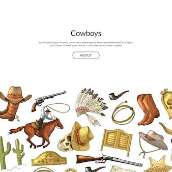 Disegnati a mano selvaggio west cowboy elementi sullo sfondo con il posto per il testo