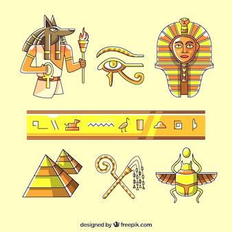 Disegnati a mano simboli e divinità egizia