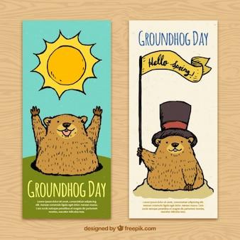 Disegnati a mano striscioni groundhog day