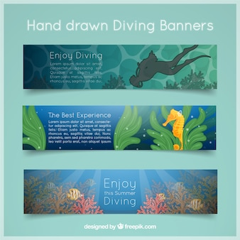 Disegnati a mano striscioni paesaggio immersioni impostate