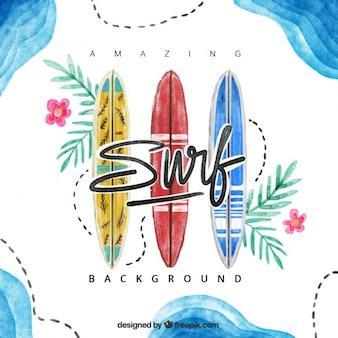 Disegnati a mano tavole da surf sfondo acquerello
