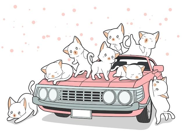 Disegnati gatti kawaii e auto rosa in stile cartoon.