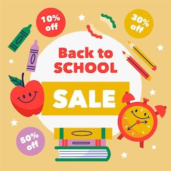 Disegnato a mano al banner di vendita della scuola