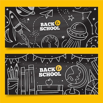 Disegnato a mano al pacchetto di banner scolastici