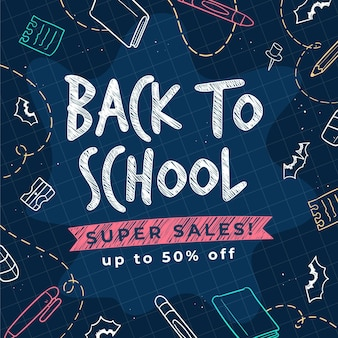 Disegnato a mano alla promozione di vendita della scuola