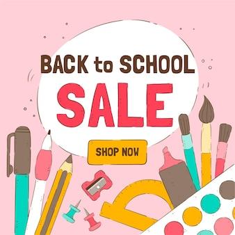 Disegnato a mano alle vendite scolastiche