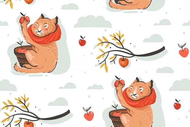 Disegnato a mano astratto saluto fumetto illustrazione autunno modello senza soluzione di continuità con il simpatico personaggio di gatto raccolto raccolta di mele con bacche, foglie e rami su priorità bassa bianca.