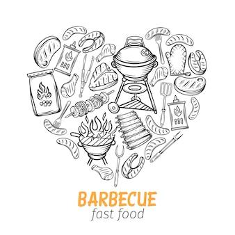 Disegnato a mano barbecue