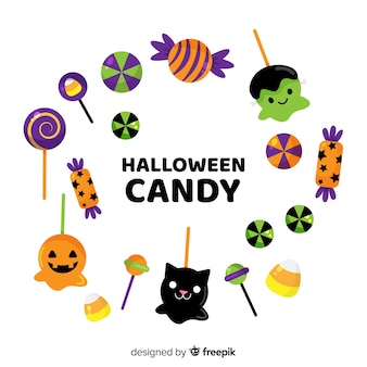Disegnato a mano bella collezione di caramelle di halloween