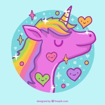 Disegnato a mano bello unicorno rosa