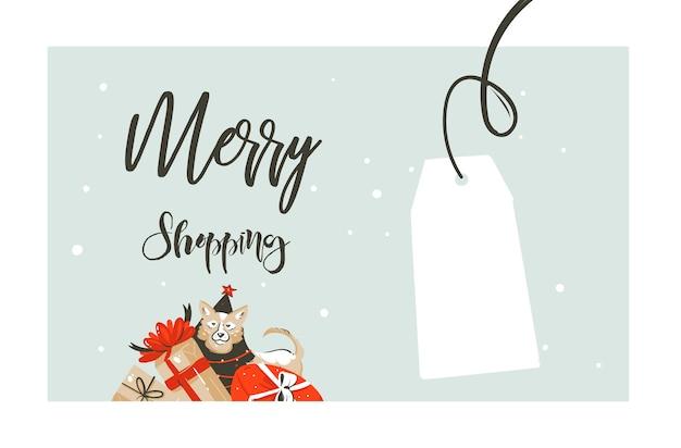 Disegnato a mano buon natale shopping tempo fumetto grafico semplice saluto illustrazione logo design con il cane, molti contenitori di regalo a sorpresa isolati su priorità bassa bianca.