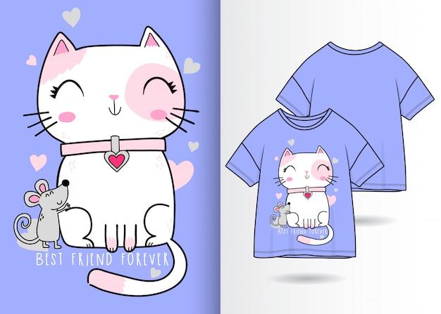 Disegnato a mano carino gatto e topo