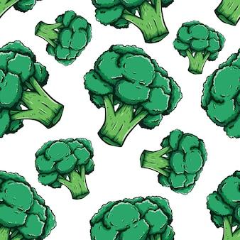 Disegnato a mano colorata di broccoli nel modello senza cuciture