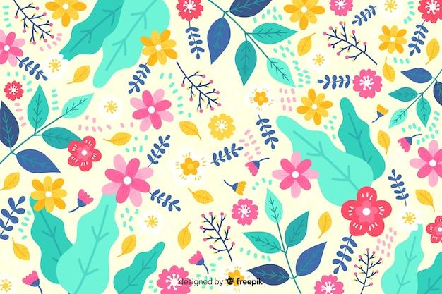 Disegnato a mano colorato sfondo floreale