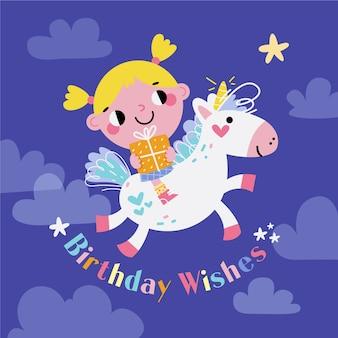 Disegnato a mano compleanno sfondo e unicorno
