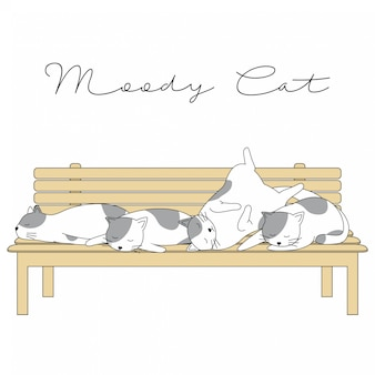 Disegnato a mano cute animals moody cat cartoon