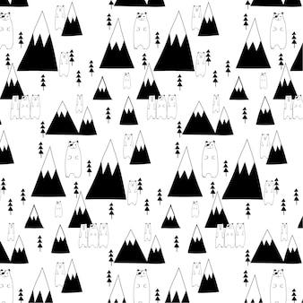 Disegnato a mano cute bear e forest pattern