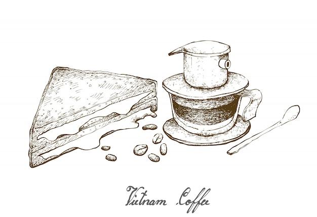 Disegnato a mano del caffè del vietnam con panino al formaggio