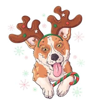 Disegnato a mano del cane del corgi in accessori di natale