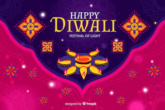 Disegnato a mano del fondo di diwali